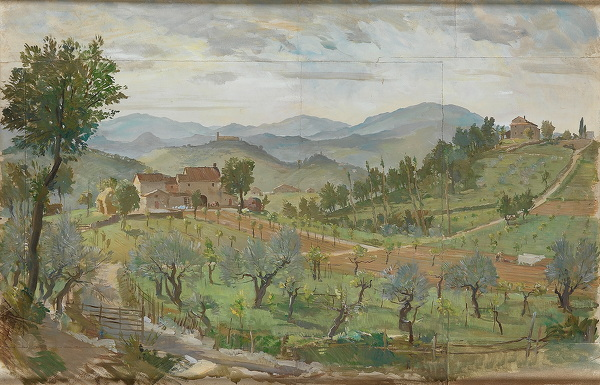 Artist Charles Cundall: Tuscan Landscape, 1930s