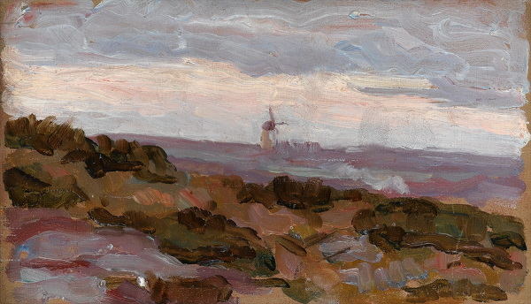 Artist Arthur Studd: Landscape study with windmill on horizon, circa 1900