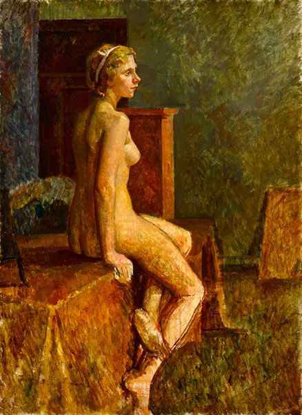 Artist Percy Horton: Fair hair model, perched on table - circa 1925