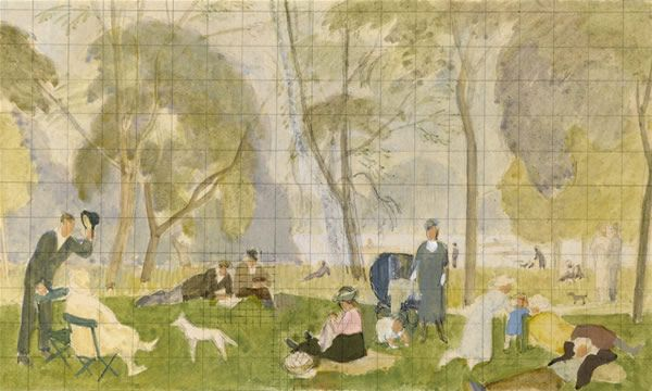 Artist Percy Horton: Study for Kensington Gardens, 1923