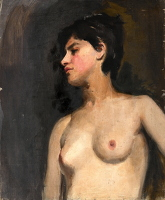 Artist Albert de Belleroche: Bust lenght female nude, 3/4 view, black background - circa 1880