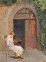 Artist Albert de Belleroche: Girl seated outside of La Boissiere - circa 1909