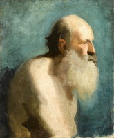Artist Albert de Belleroche: Profile study of an old man, head and shoulders, early 1880s