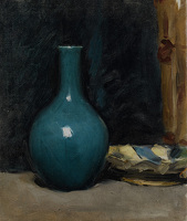 Artist Albert de Belleroche: Still life with blue pot and folded cloth, late 1880s