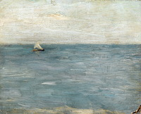 Artist Albert de Belleroche: Seascape with sailing boat