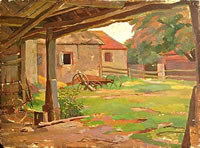Artist Percy Horton: Farmyard view
