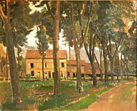 Artist Percy Horton: Tree-lined road, houses beyond - circa 1925