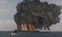 Artist Charles Pears: Bristol Blenheim setting fire to German oil tanker, circa 1940