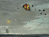 Artist Roy Nockolds: Anti-aircraft batteries attack, 1944