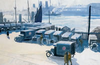 Artist Ernest Procter: Army Ambulances by the Docks, 1919