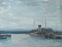 Artist Sunderland Rollison: Twilight - twin funnel steamer